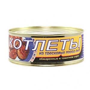 Котлеты из тресковых пород рыб обжаренные в томатном соусе  (ж/б 250гр)