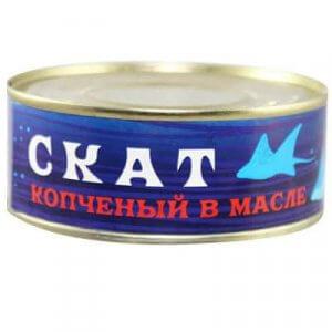 Скат копчёный в масле (ж/б 250 гр)