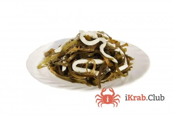 Морская капуста с кальмаром, салат